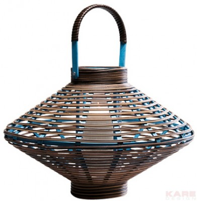 Lantern Bamboo Disc Blue 43cm