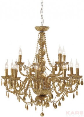 Pendant Lamp Gioiello Crystal Gold 14-Branched