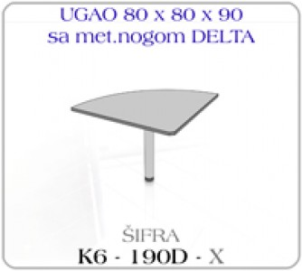 Ugao 80 x 80 x 90 sa metalnom nogom DELTA