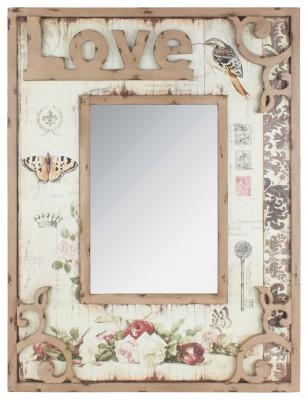 DRVENO ZIDNO OGLEDALO LOVE (0204650)